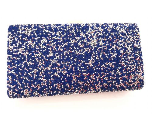 The Kikki Blue Diamante Crystal Clutch